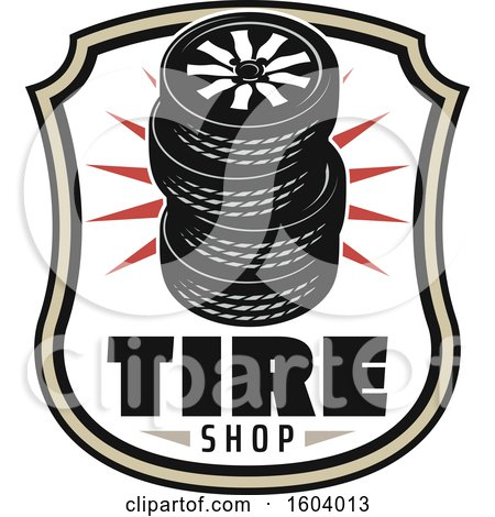 Clipart of a Tire Shop Design - Royalty Free Vector Illustration by Vector Tradition SM