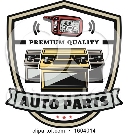 Clipart of a Shield with Auto Parts - Royalty Free Vector Illustration by Vector Tradition SM