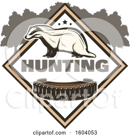 Clipart of a Badger Hunting Design - Royalty Free Vector Illustration by Vector Tradition SM