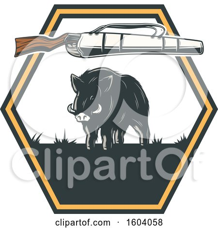 Clipart of a Boar Hunting Design - Royalty Free Vector Illustration by Vector Tradition SM