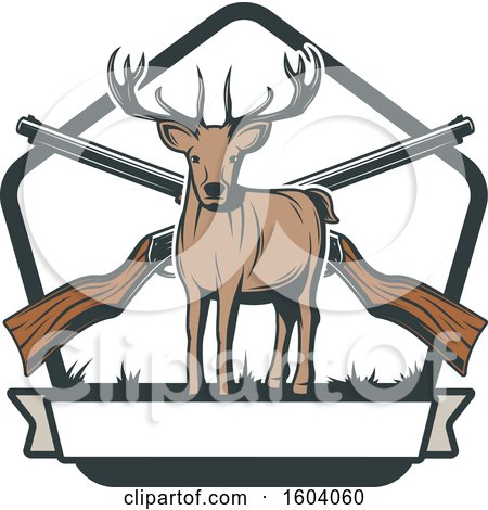 Clipart of a Buck Deer and Hunting Rifles Design - Royalty Free Vector Illustration by Vector Tradition SM