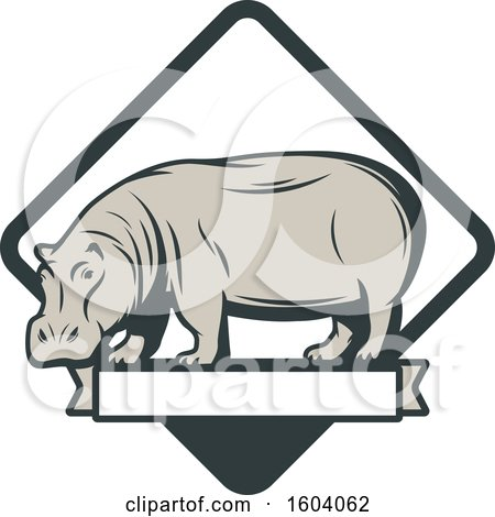 Clipart of a Hippo and Diamond Design - Royalty Free Vector Illustration by Vector Tradition SM