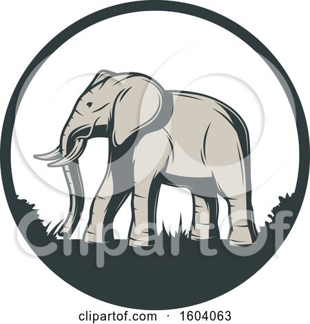 Clipart of a Walking Elephant and Circle Design - Royalty Free Vector Illustration by Vector Tradition SM