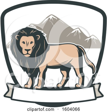 Clipart of a Male Lion and Shield Design - Royalty Free Vector Illustration by Vector Tradition SM
