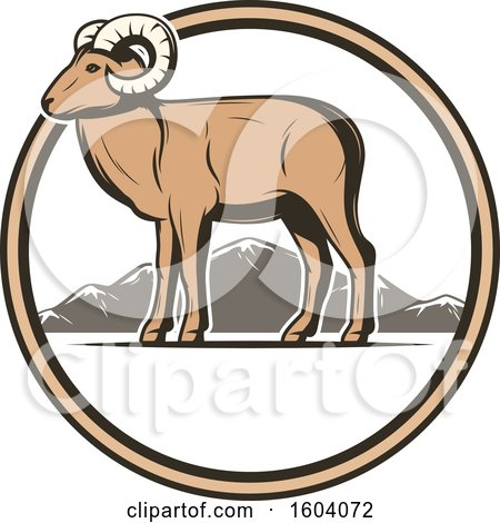 Clipart of a Ram and Circle Design - Royalty Free Vector Illustration by Vector Tradition SM
