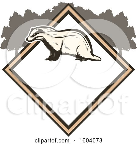 Clipart of a Badger and Diamond Design - Royalty Free Vector Illustration by Vector Tradition SM