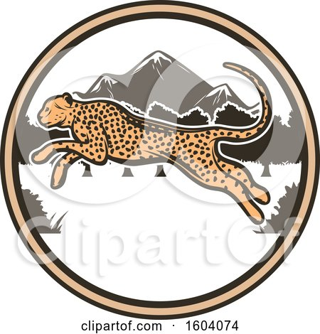 Clipart of a Leaping Cheetah and Circle Design - Royalty Free Vector Illustration by Vector Tradition SM