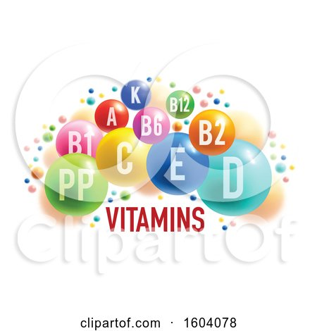 Clipart of Colorful Vitamin Bubbles, on a White Background - Royalty Free Vector Illustration by Vector Tradition SM
