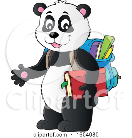 Clipart of a Student Panda - Royalty Free Vector Illustration by visekart