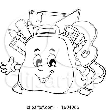 clipart of a lineart school bag mascot royalty free vector