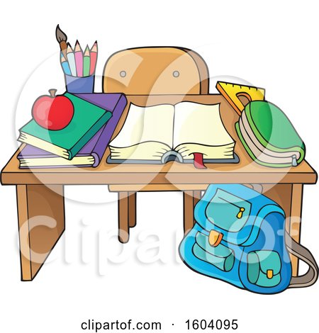 Clipart of a School Desk - Royalty Free Vector Illustration by visekart
