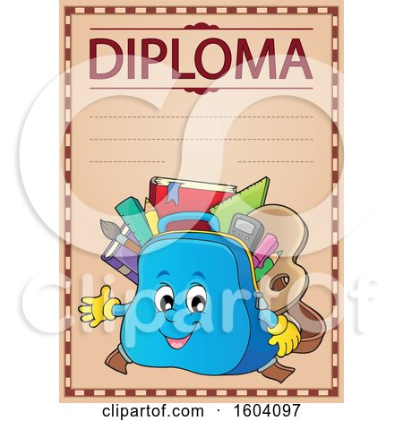 Clipart of a School Bag Mascot on a Diploma - Royalty Free Vector Illustration by visekart