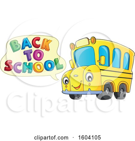 Clipart of a Yellow Bus Saying Back to School - Royalty Free Vector Illustration by visekart