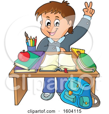Clipart of a Caucasian School Boy Raising His Hand at His Desk - Royalty Free Vector Illustration by visekart