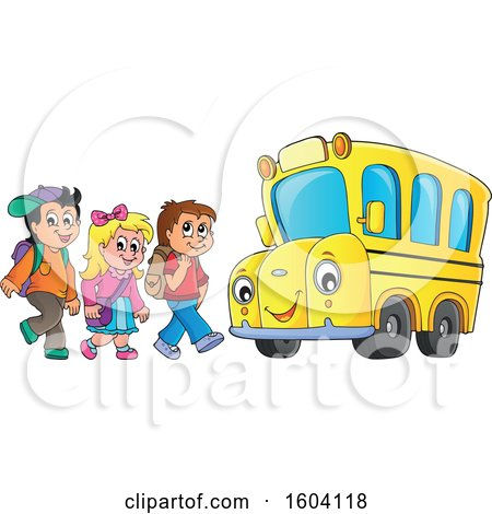 Clipart of a Group of Children Boarding a School Bus - Royalty Free Vector Illustration by visekart
