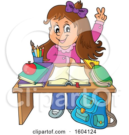 Clipart of a Caucasian School Girl Raising Her Hand at Her Desk - Royalty Free Vector Illustration by visekart
