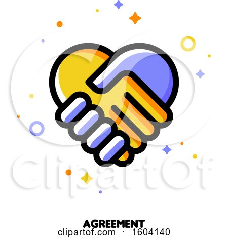 Clipart of a Handshake Agreement Icon - Royalty Free Vector Illustration by elena