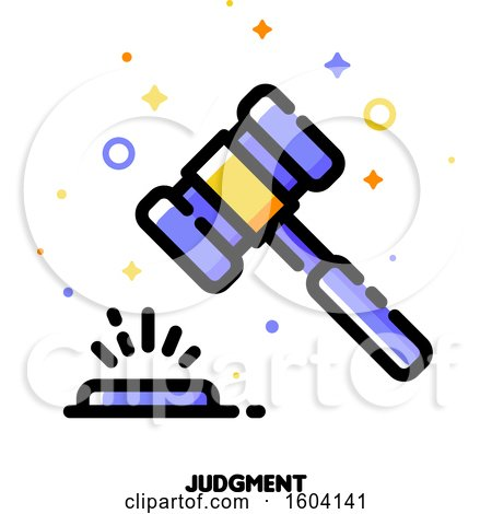 Clipart of a Banging Gavel Judgment Icon - Royalty Free Vector Illustration by elena