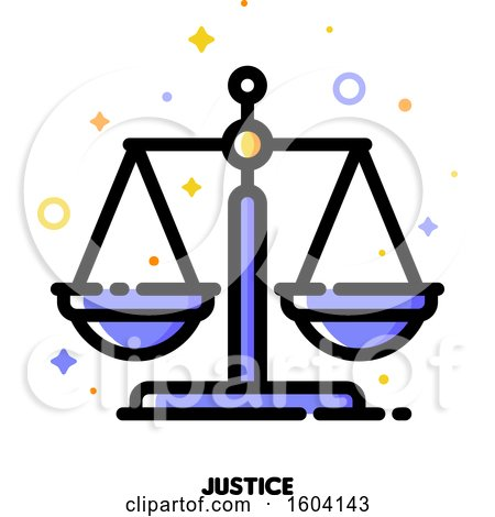 Clipart of a Justice Scales Icon - Royalty Free Vector Illustration by elena