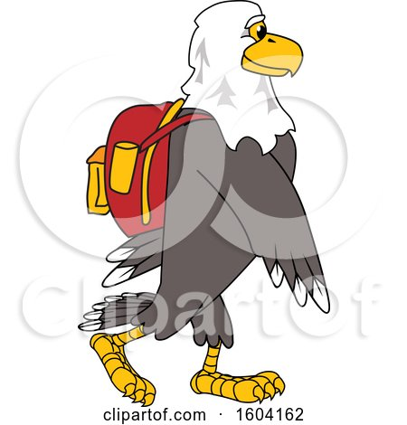 Clipart of a Bald Eagle School Mascot Character Wearing a Backpack - Royalty Free Vector Illustration by Toons4Biz