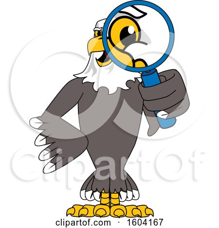Clipart of a Bald Eagle School Mascot Character Looking Through a Magnifying Glass - Royalty Free Vector Illustration by Toons4Biz