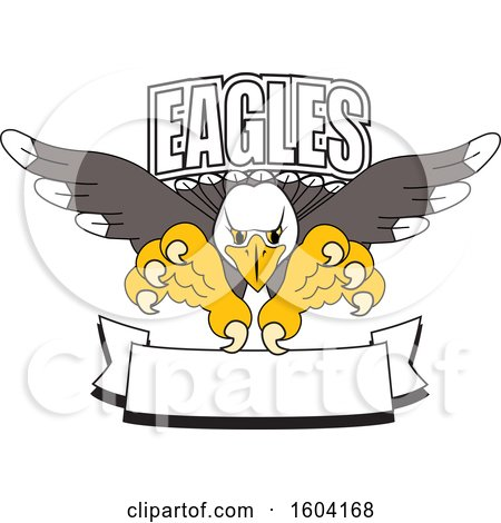 Clipart of a Bald Eagle School Mascot Character Swooping over a Banner - Royalty Free Vector Illustration by Toons4Biz