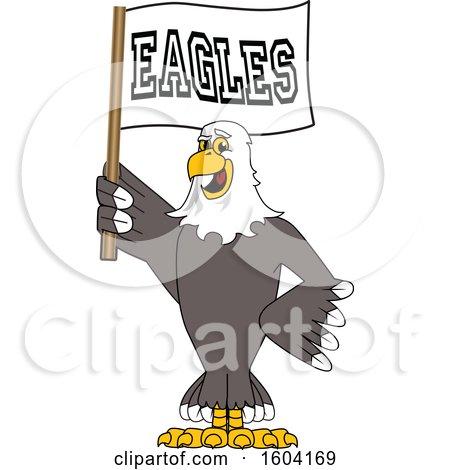 Bald Eagle School Mascot Character Holding a Flag Posters, Art Prints