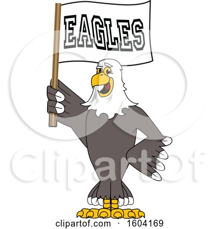 Clipart of a Bald Eagle School Mascot Character Holding a Flag - Royalty Free Vector Illustration by Toons4Biz