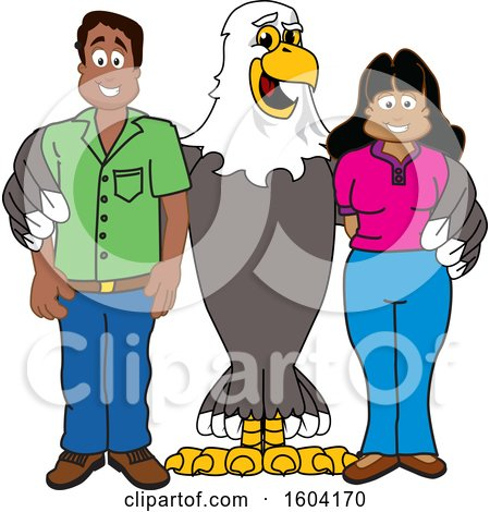 Clipart of a Bald Eagle School Mascot Character with Parents - Royalty Free Vector Illustration by Toons4Biz