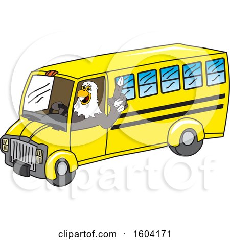 Clipart of a Bald Eagle School Mascot Character Driving a School Bus - Royalty Free Vector Illustration by Toons4Biz