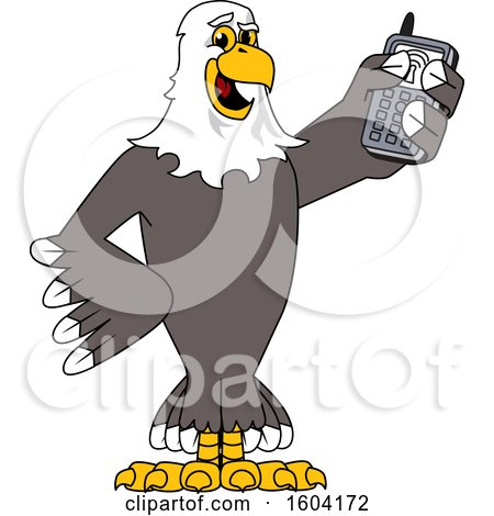 Clipart of a Bald Eagle School Mascot Character Holding a Cell Phone - Royalty Free Vector Illustration by Toons4Biz