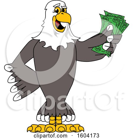 Clipart of a Bald Eagle School Mascot Character Holding Cash Money - Royalty Free Vector Illustration by Toons4Biz