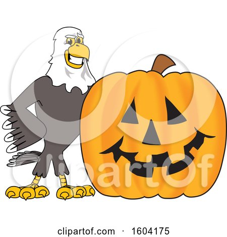 Clipart of a Bald Eagle School Mascot Character with a Halloween Pumpkin - Royalty Free Vector Illustration by Toons4Biz