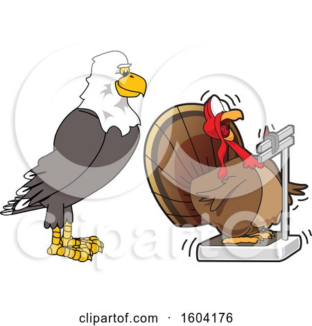 Clipart of a Bald Eagle School Mascot Character Watching a Turkey Bird Weighing Itself - Royalty Free Vector Illustration by Toons4Biz