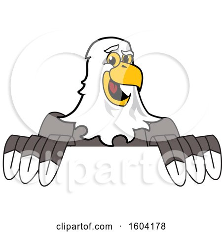 Clipart of a Bald Eagle School Mascot Character over a Sign - Royalty Free Vector Illustration by Toons4Biz