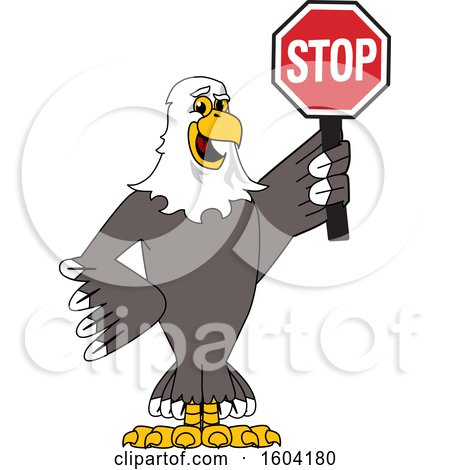 Clipart of a Bald Eagle School Mascot Character Holding a Stop Sign - Royalty Free Vector Illustration by Toons4Biz