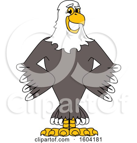 Clipart of a Bald Eagle School Mascot Character with Hands on His Hips - Royalty Free Vector Illustration by Toons4Biz