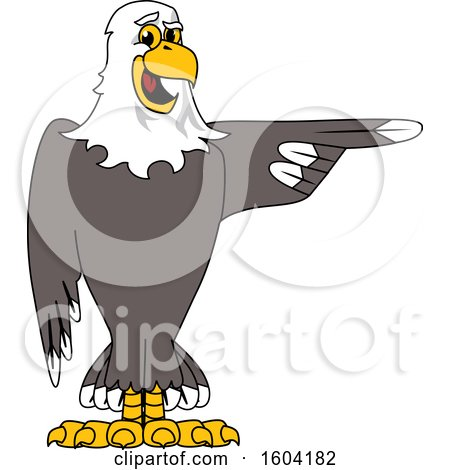 Clipart of a Bald Eagle School Mascot Character Pointing - Royalty Free Vector Illustration by Toons4Biz