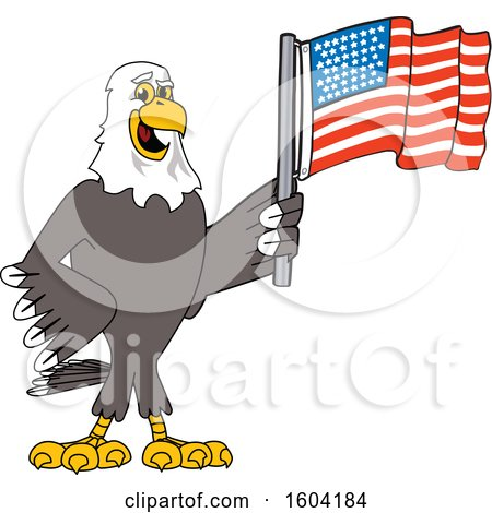 Clipart of a Bald Eagle School Mascot Character Holding an American Flag - Royalty Free Vector Illustration by Toons4Biz