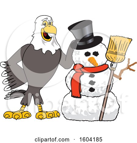 Clipart of a Bald Eagle School Mascot Character with a Christmas Snowman - Royalty Free Vector Illustration by Toons4Biz