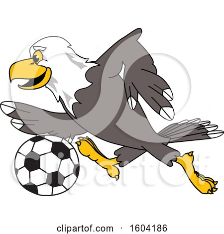Clipart of a Bald Eagle School Mascot Character Playing Soccer - Royalty Free Vector Illustration by Toons4Biz