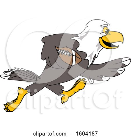 Clipart of a Bald Eagle School Mascot Character Playing Football - Royalty Free Vector Illustration by Toons4Biz