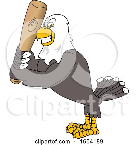 Clipart of a Bald Eagle School Mascot Character Holding a Baseball Bat - Royalty Free Vector Illustration by Toons4Biz