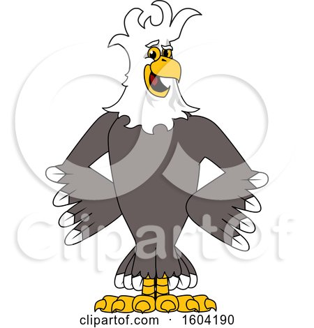 Clipart of a Bald Eagle School Mascot Character with a Mohawk - Royalty Free Vector Illustration by Toons4Biz