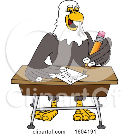Clipart of a Bald Eagle School Mascot Character Writing at a Desk - Royalty Free Vector Illustration by Toons4Biz