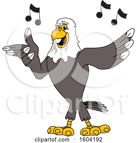 Clipart of a Bald Eagle School Mascot Character Singing - Royalty Free Vector Illustration by Toons4Biz