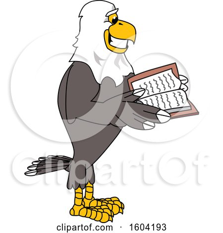 Clipart of a Bald Eagle School Mascot Character Reading a Book - Royalty Free Vector Illustration by Toons4Biz