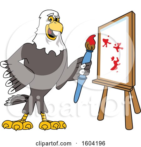 Clipart of a Bald Eagle School Mascot Character Painting a Canvas - Royalty Free Vector Illustration by Toons4Biz