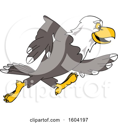 Clipart of a Bald Eagle School Mascot Character Running - Royalty Free Vector Illustration by Toons4Biz