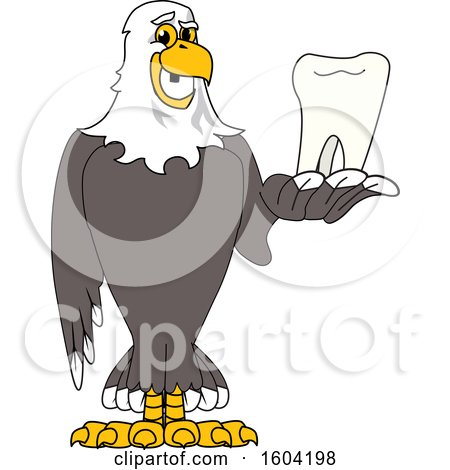 Clipart of a Bald Eagle School Mascot Character Holding a Tooth - Royalty Free Vector Illustration by Toons4Biz